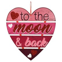 Valentine Hanging Heart Wall Decoration Sign Moon and Back 11.25x12.5-in w - $6.99