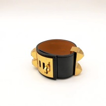 NEW Authentic Hermes Black CDC Collier DeChien Leather Gold Bracelet Cuff PM image 7