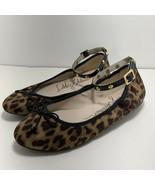 Libby Edelman Womens Clarissa Ankle Strap Ballet Flats Leopard Print Siz... - $26.70