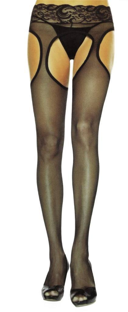 NEW LOT OF 6 LEG AVENUE WOMEN'S LACE SUSPENDER HOSE STOCKINGS TIGHTS BLACK 1988