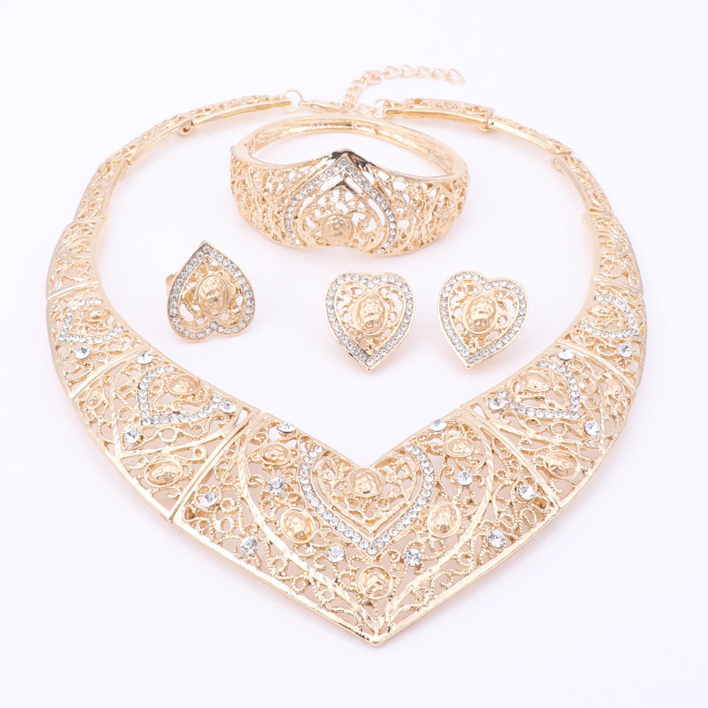 Jewelry Sets African Beads Heart Shaped Collar Statement Silver Plated Necklace