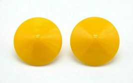 Dark Yellow Disc Acrylic Retro Clip Earrings Gold Tone Vintage - $13.86