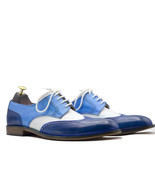 Handmade Three Tone Wing Tip Leather Lace Up Shoes - $169.99