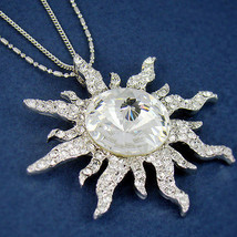 Women's Swarovski Crystal Silver Plated Sun Pendant Necklace Double Chain - $14.67