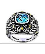 Blue Topaz Ring checkerboard facet solitaire 10.49 gr Silver  3.6 carats... - $86.01