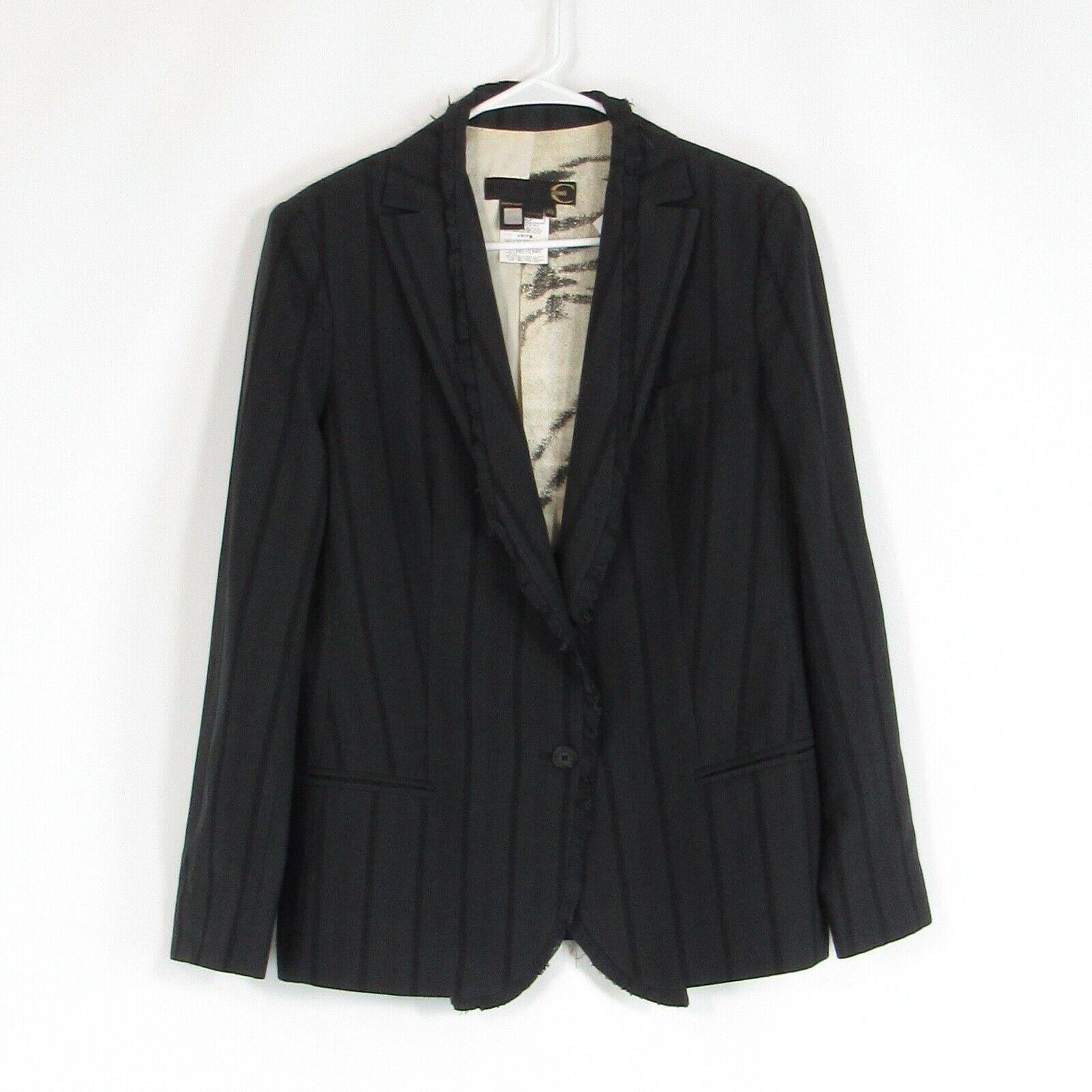 Primary image for Charcoal gray black striped cotton blend JUST CAVALLI blazer jacket IT48 14