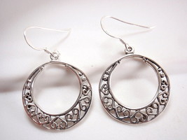 Hearts in Circle Earrings 925 Sterling Silver Dangle Corona Sun Jewelry Love - $12.86