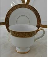 30 p SANGO Hampton Gold DINNERWARE LOT DINNER PLATE SOUP BOWLs cup servi... - $223.73