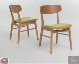 Set Of 2 Fabric Upholstered Wood Kitchen Dining Chairs Vintage Retro Gre... - $171.27