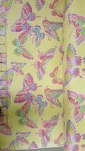 Fabric Traditions Flannel Glitter Butterfly Yellow Cotton fabric by the ... - $7.59