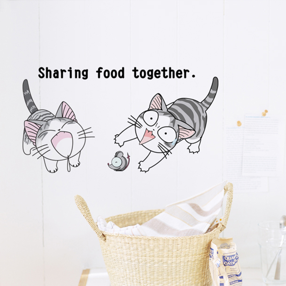 Removable art decals cartoon cheese cat wall stickers - Childrens bedroom wall stickers removable ...