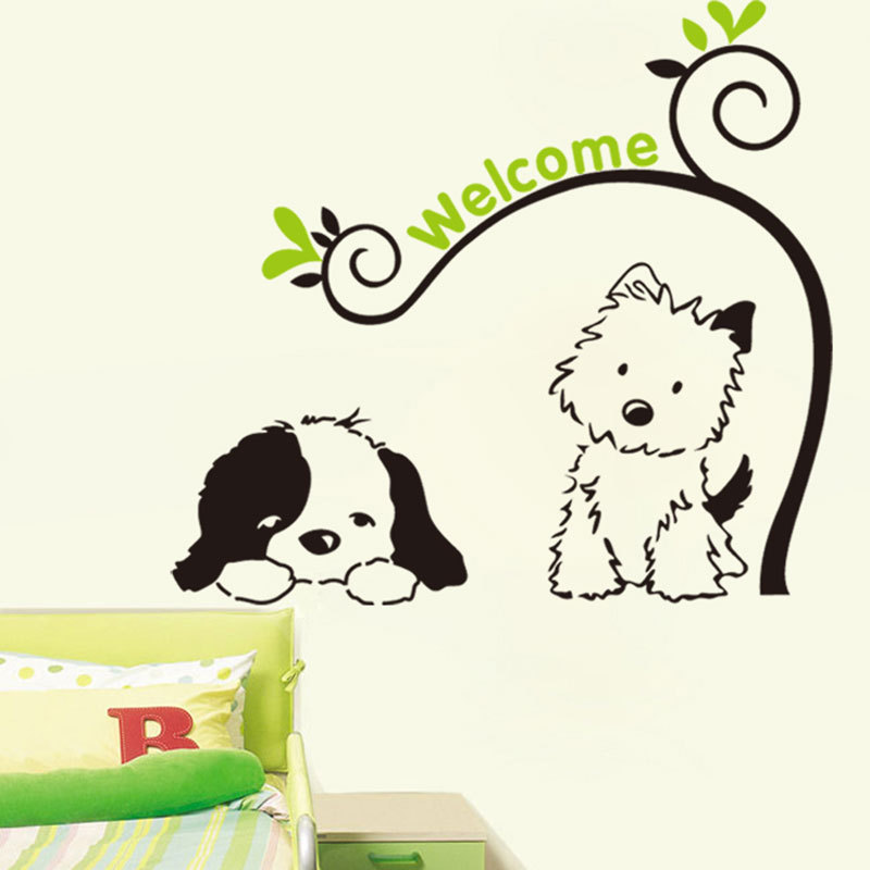 Cute Wall Decor For Living Room : Cute puppy dog wall stickers decal art vinyl home living