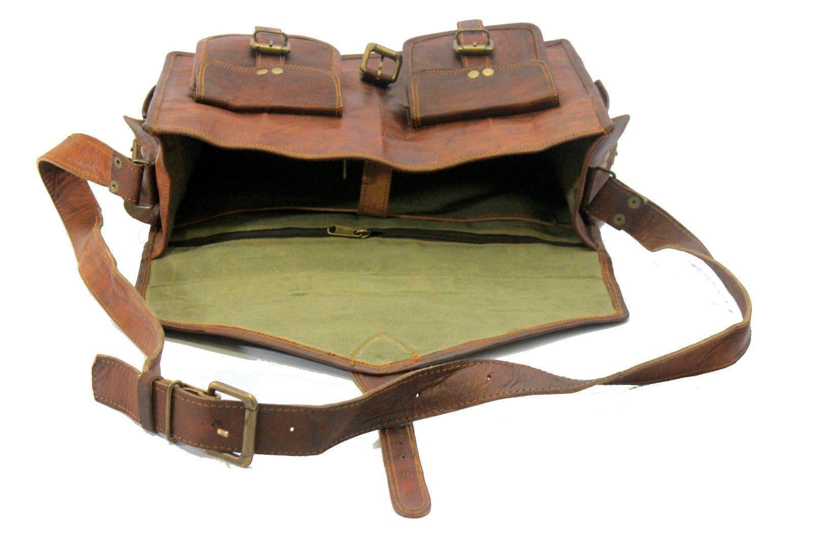 Men Genuine Leather Messenger Bags Handbag Vintage Business Briefcase Laptop