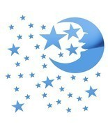 Mirror Effect Wall Sticker Stars Moon Home Wall Decor DIY Art - $14.50
