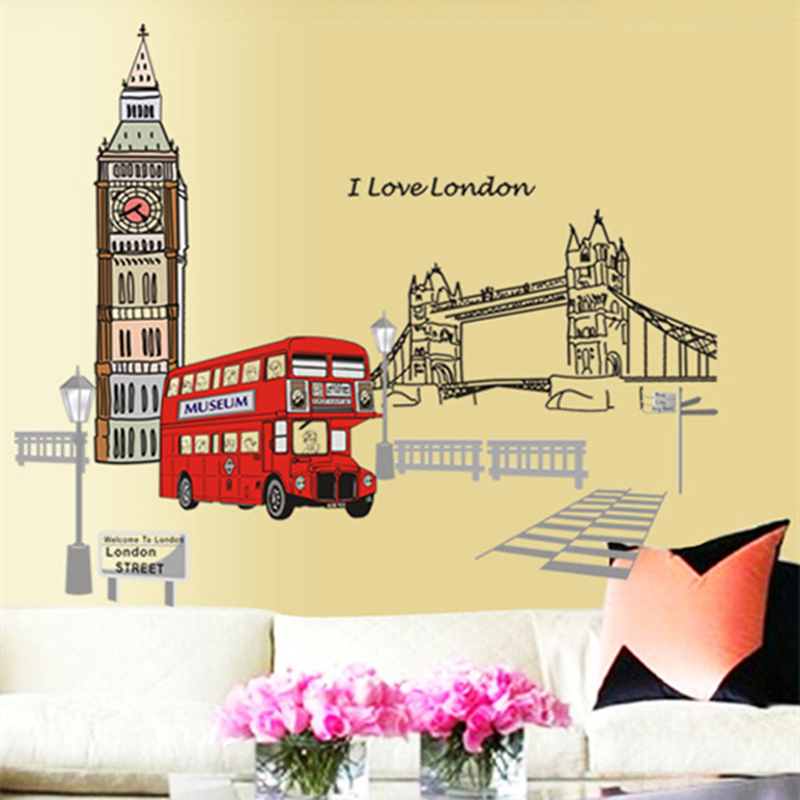 London double decker bus wall stickers removable sticker for Creative mural art