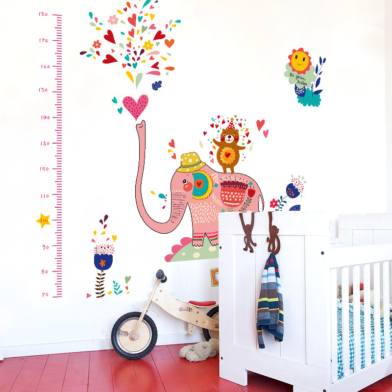 Lndian style elephants spray baby room measuring height for Stickers para pared