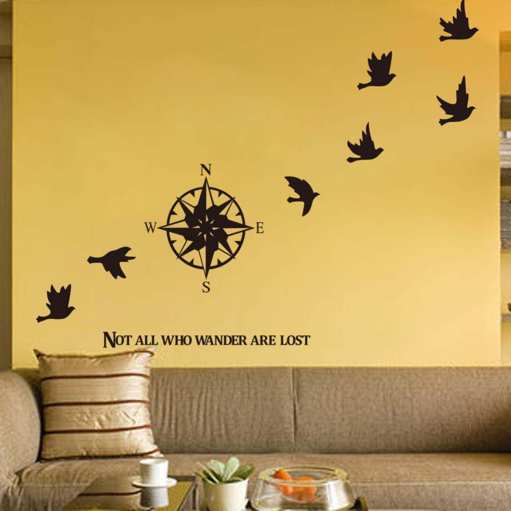 Compass wall sticker home decals decor removable for Adhesive wall decoration