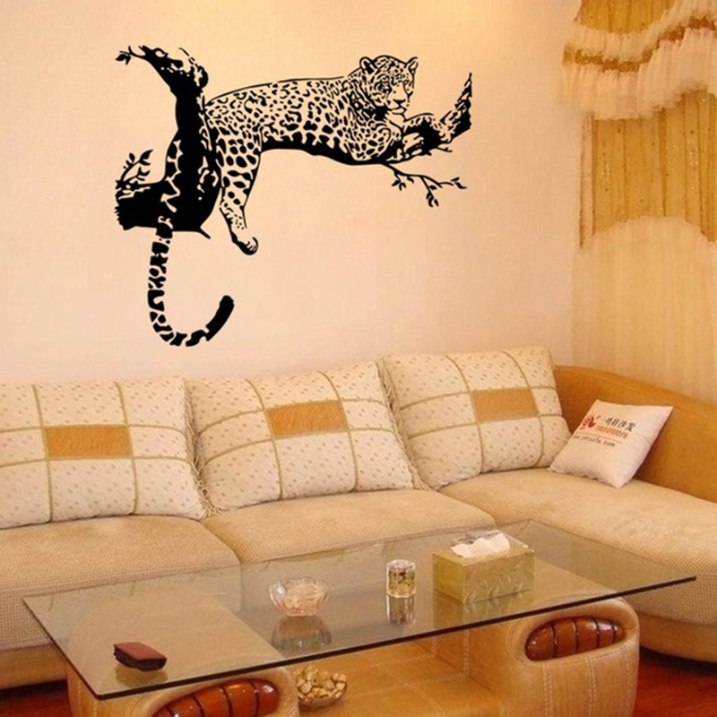 Wild large leopard animal wall sticker tiger wall decal for Animal wall mural