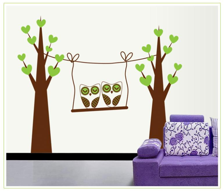 Owl Green Tree Swing Decals For Kids Room Art Home Decor Wall Stickers Living Ro Decals