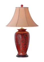 """Chinese Red Lacquer Porcelain Vase Table Lamp Shade and Finial 30"""" - $296.99"""