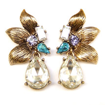 Flower Petals Teardrop Blue Purple Clear Crystal Bronze Drop Dangle Earr... - $9.99