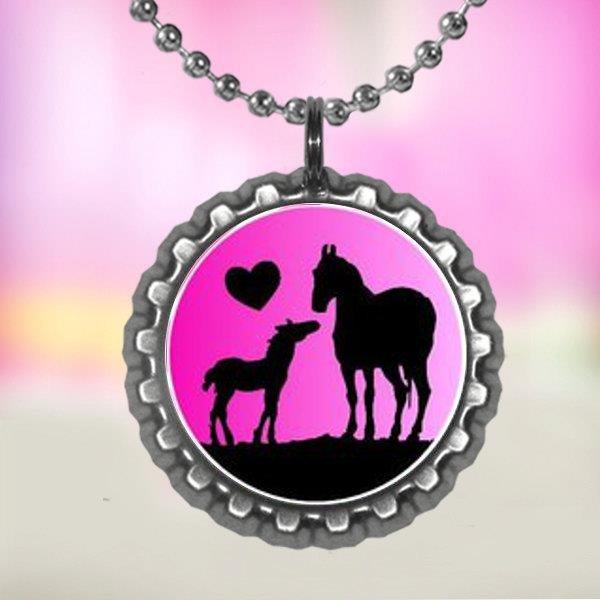 Horse lover 3 bottle cap necklace