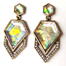 Geometric Pentagon Rhombus Rainbow Pink Crystal Bronze Drop Dangle Earri... - $9.99