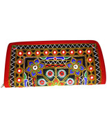 Zonnie Zari Indian Embroidered Zippered Small Purse Red - $21.20