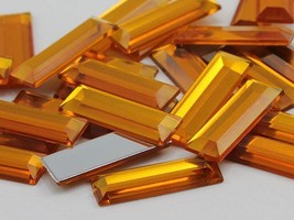 22x7mm Gold Topaz .TZ Flat Back Baguette Acrylic Gems High Quality - 40 PCS - $5.12