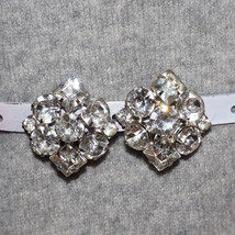 Chunky Vintage Diamond Rhinestone Clip Earrings Formal Bridal Wedding Ea... - $45.00