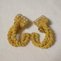 Vintage Crown Trifari Faux Pearl Textured Rope Clip Earrings Bridal Wedding Jewe - $35.00