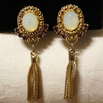 Vintage Etruscan Faux Opal Amethyst Rhinestone Dangle Tassel Fringe Earr... - $35.00