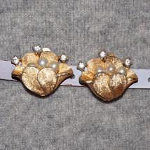 Vintage Rhinestone Glass Pearl Flower Earrings Bridal Wedding Jewelry - $35.00