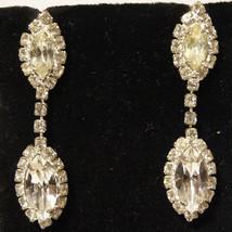 Vintage Rhinestone Dangle Bridal Prom Wedding Earrings Pierced - $32.00