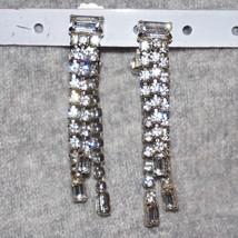 """Vintage Rhinestone Chandelier Waterfall Bridal Wedding Earrings 1 7/8"""" - $32.00"""