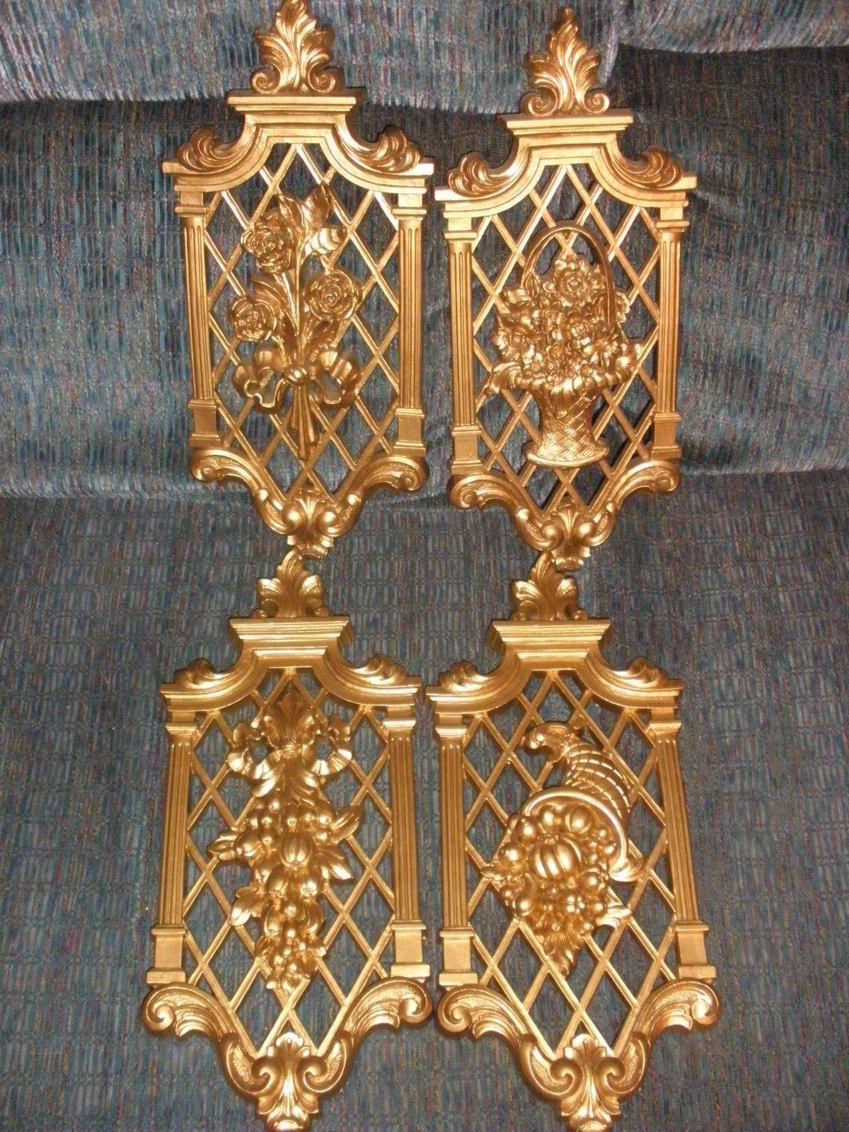 Homco set of seasonal plaques in gold set of 4 vintage - $19.36