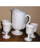 Pitcher and 5 footed glassed in milk glass harvest grape pattern Indiana... - $52.75