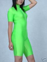 LYCRA SPANDEX ZENTAI SEXY GREEN SHORT SUIT CATSUIT COSTUMES LONG ZIPPER ... - $32.99