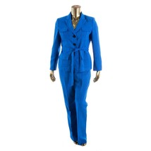Le Suit Yatch Club New Sea Blue Belted Three-Button Jacket Pant Suit  18... - $48.99