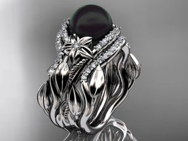 14kt White gold Black Pearl and Diamond  with Double Wedding Band ABP326S - $2,745.00