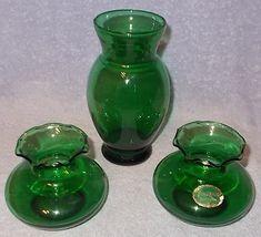 Anchor Hocking Glass Forest Green Vase Set - $19.95