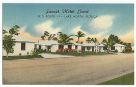 Lake Worth FL Sunset Motor Court Linen Vintage Postcard - $6.75