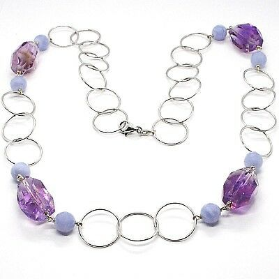 Halskette Silber 925, Fluorit Oval Facettiert Violet, Chalcedon, 70 CM