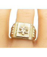 925 Sterling Silver - Vintage Embossed Flower Square Band Ring Sz 11.5 - R18319 - $46.80
