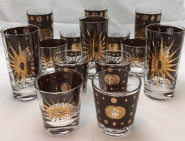 Midcentury Fred Press Atomic Starbust Eclipse 14 Collins Whiskey Glass S... - $299.99
