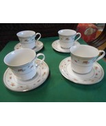 beautiful ALICIA by DANIELE Fine Porcelain China Set of 4 CUPS & SAUCERS - $15.65