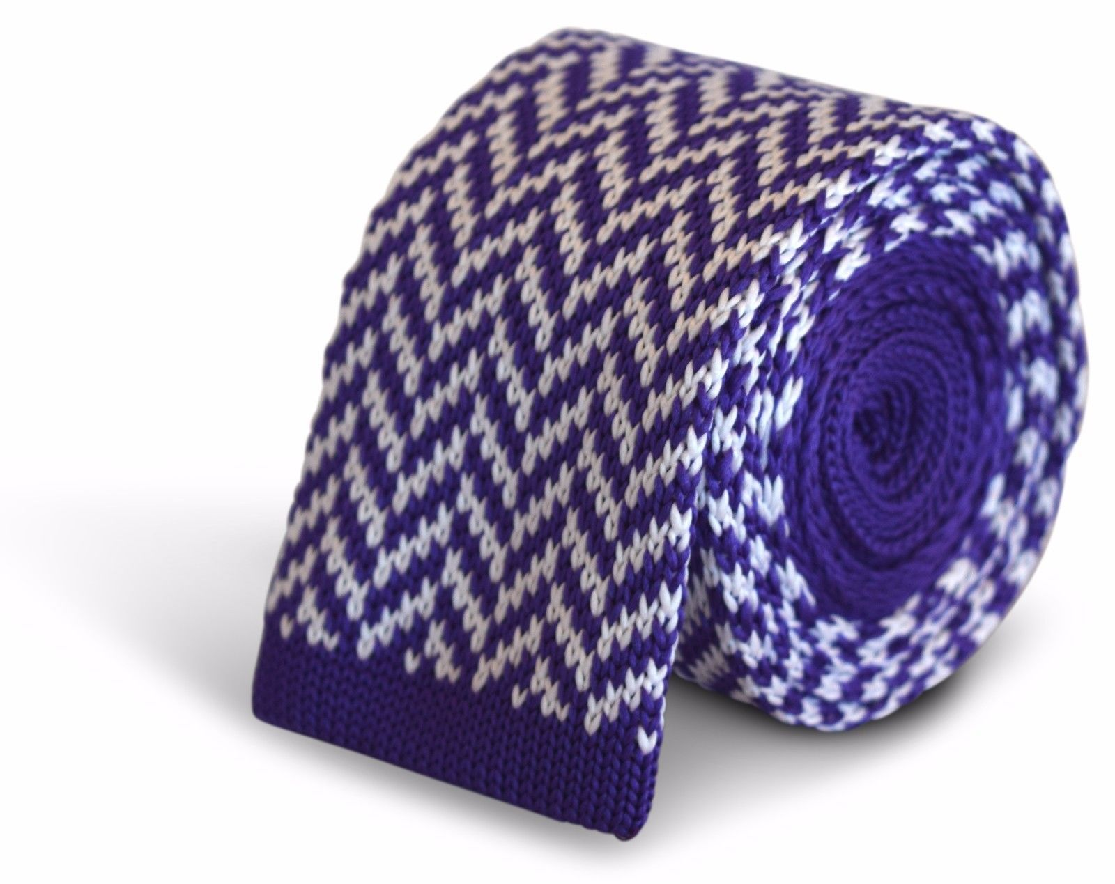 Frederick Thomas Knitted Skinny Cadbury Purple and White Herringbone Tie FT3283