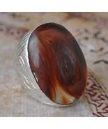 Yemeni Agate Aqeeq silver Ring/ Yemen Large sto... - $78.21