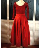 Vintage Lillie Rubin Red Glitter Lace & Satin Maxi Prom Dress Formal Eve... - $100.00