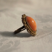 Big Vintage Faux Pink Angel Skin Coral Glass Cabochon Ring - $30.00
